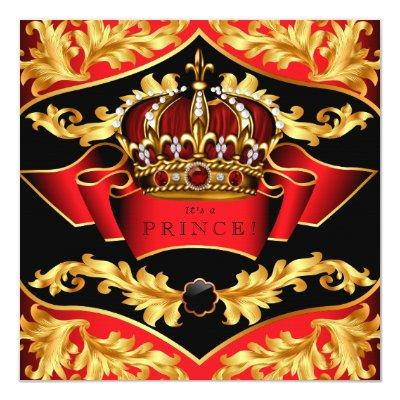 Red and Gold Royal Baby Shower Invitations