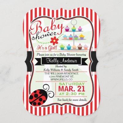 Red and White Ladybug Theme Girl Baby Shower Invitation