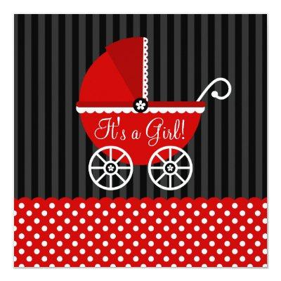 Red Black Carriage Dots Girl Baby Shower Invitation