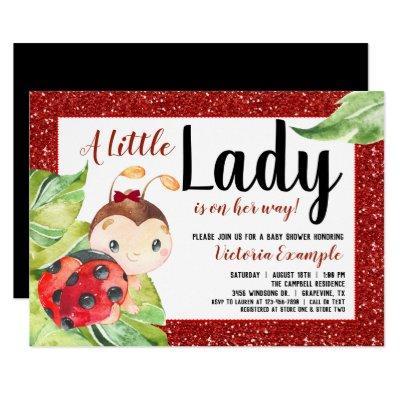 Red Black Ladybug Baby Shower Invitation