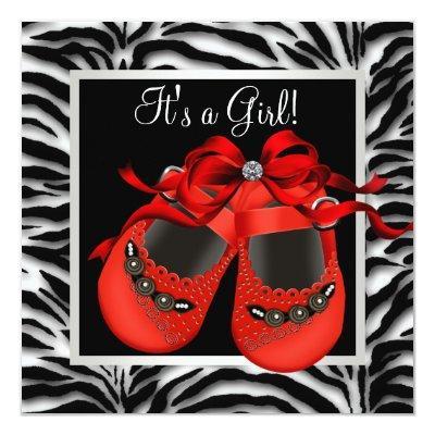 Red Black Shoes Red Zebra Baby Girl Shower Invitation
