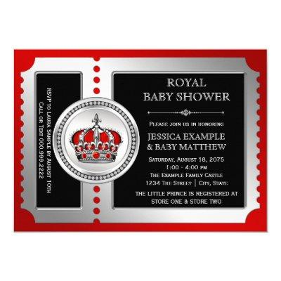 Red Black Silver Prince Baby Shower Invitations