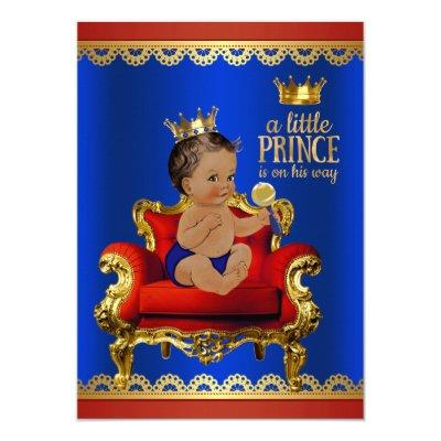 Red Blue Gold Chair Ethnic Prince Boy Invitations