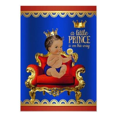 Red Blue Gold Chair Ethnic Prince Boy Baby Shower Invitations
