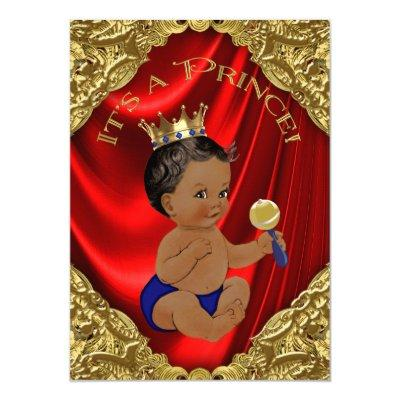 Red Blue Gold Ethnic Prince Baby Shower Invitation