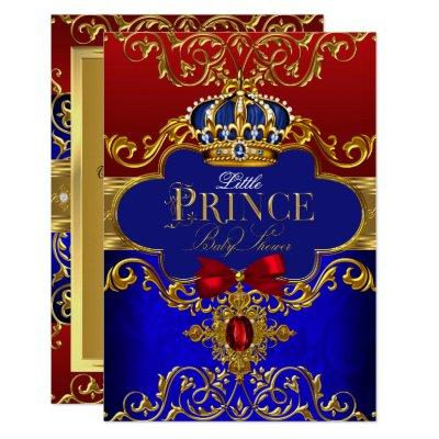 Red Blue Royal Crown Little Prince Baby Shower Invitations