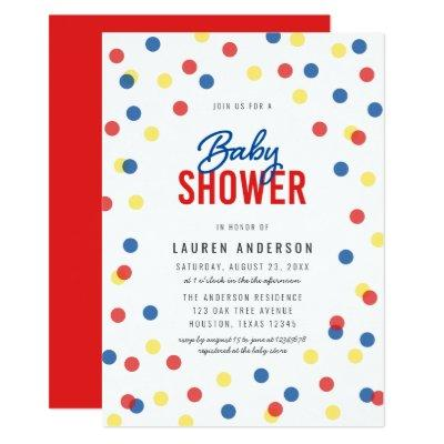 Red Blue Yellow Confetti Baby Shower Invitation