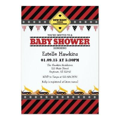 Red Construction Baby Shower Invitations