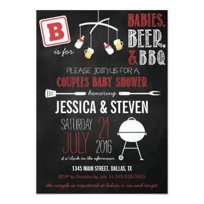 Red Couples Baby Shower BBQ Invitations
