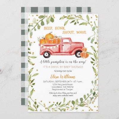 Red Fall Pumpkin Truck Drive by Baby Shower Invitation