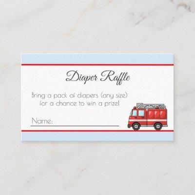 Red Fire Truck Baby Shower Diaper Raffle Tickets Enclosure Card