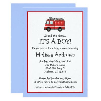 Red Fire Truck Baby Shower Invitations