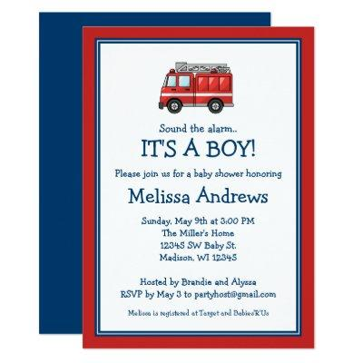 Red Fire Truck Baby Shower Invitation
