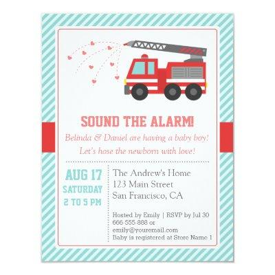 Red Fire Truck Baby Shower Party Invitations