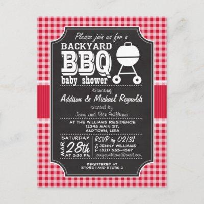 Red Gingham BBQ Baby Shower Invitations