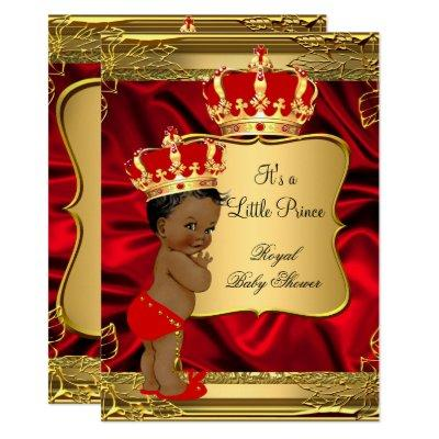 Red Gold African American Prince Baby Shower Invitations