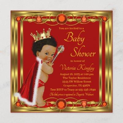 Red Gold Afro Prince Baby Shower Invitation