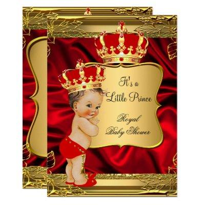 Red Gold Brunette Baby Boy Prince Baby Shower Invitation