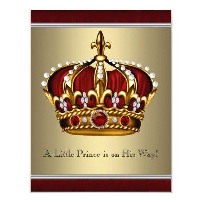 Red Gold Crown Prince Boy Invitations