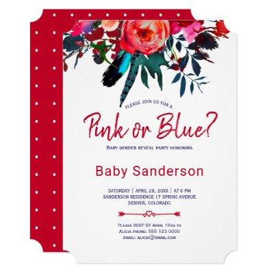 Red navy blue floral bouquet gender reveal party Invitations