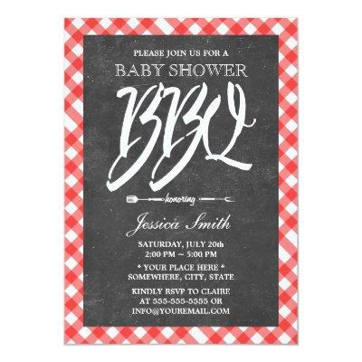 Red Plaid & Chalkboard Baby Shower BBQ Party Invitations