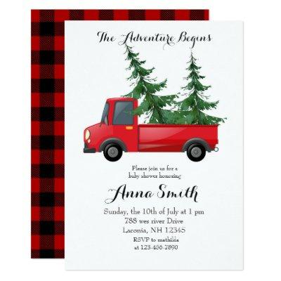 Red Truck Adventure Begins Baby Shower Invitation