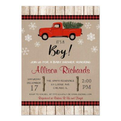 Red truck and snowflakes Christmas boy baby shower Invitation