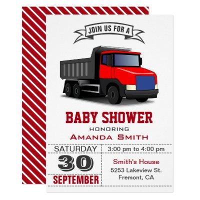 Red Truck Baby Shower Invitations