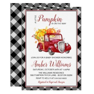 Red Truck Fall Pumpkin Baby Shower Invitation