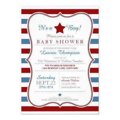 Red White and Blue Baby Shower Invitation