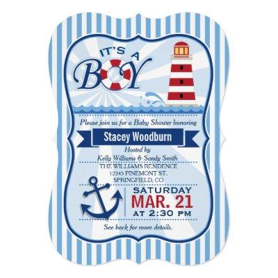 Red, White, & Blue Nautical Lighthouse Baby Shower Invitations
