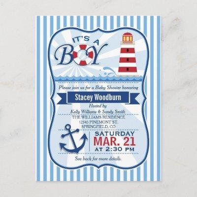 Red, White, & Blue Nautical Lighthouse Baby Shower Invitation Postcard