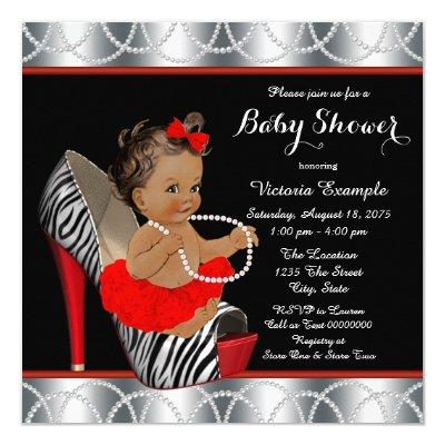 Red Zebra Pearl High Heel Shoe Ethnic Baby Shower Invitation