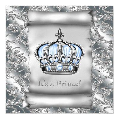 Regal Royal Blue Prince Baby Shower Invitations