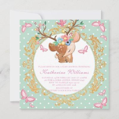 Reindeer Illustration Baby Shower Girl Invitation