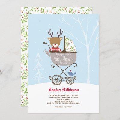 Reindeer in Stroller Winter Baby Shower Invitation