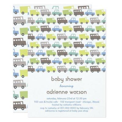 Retro Boys Toys Transport Baby Shower Invitations