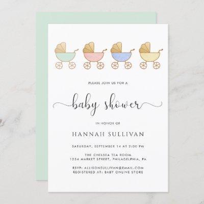 Retro Carriages Minimal Baby Shower Invitation