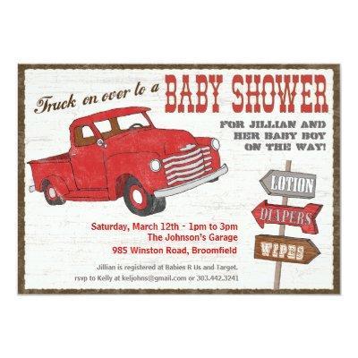 Retro Truck Baby Shower Invitation