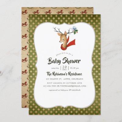 Retro Vintage Reindeer Christmas Baby Shower Invitation