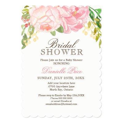 Romantic Pink Peony Bridal Shower Invitations