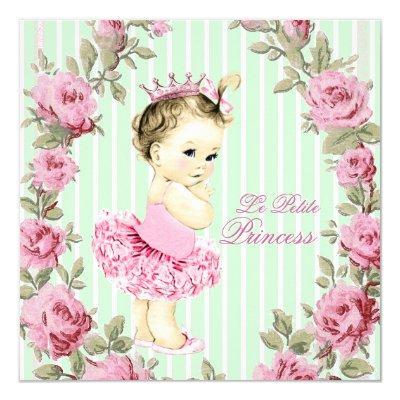 Vintage princess baby shower invitations baby shower invitations rose and mint green ballerina tutu filmwisefo
