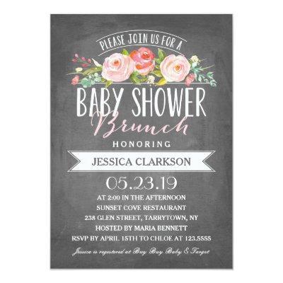 Rose Banner Brunch | Baby Shower Invitations