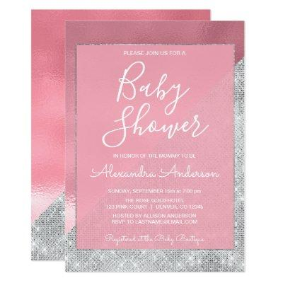 Pink And Silver Baby Shower Invitations Baby Shower Invitations