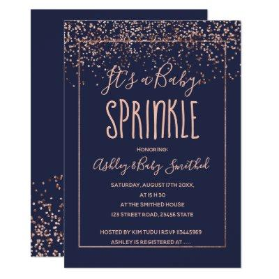 Rose gold confetti navy blue baby sprinkle shower invitation
