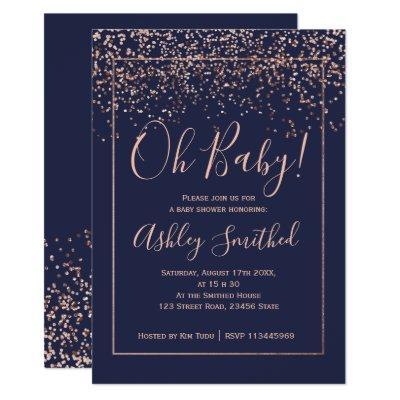 Rose gold confetti navy typography baby shower invitation