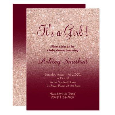 Rose gold faux glitter burgundy girl baby shower invitation
