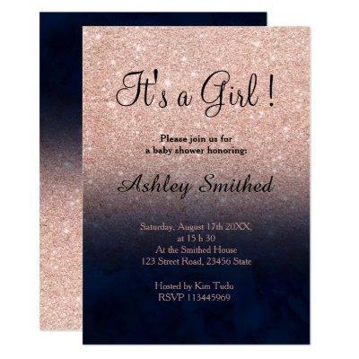 Rose gold faux glitter navy blue girl baby shower invitation