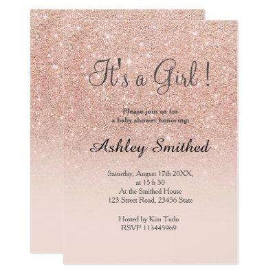 Rose gold faux glitter pink ombre girl Invitations