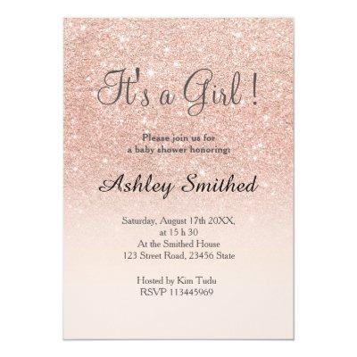 Rose gold faux glitter pink ombre girl baby shower Invitations